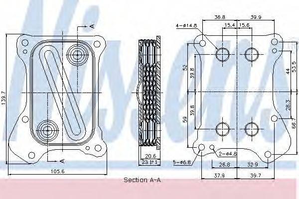 масляный радиатор, двигательное масло NISSENS 90700