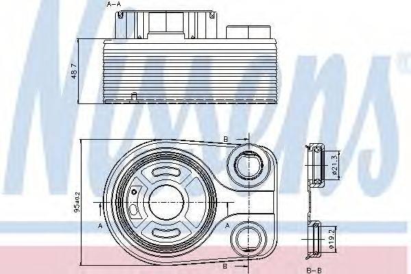 масляный радиатор, двигательное масло NISSENS 90705