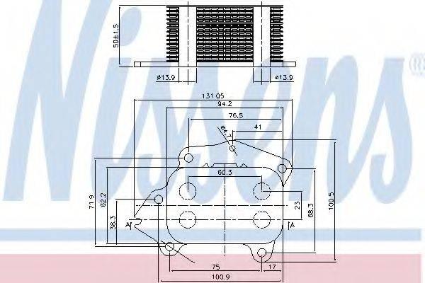 масляный радиатор, двигательное масло NISSENS 90717