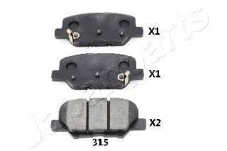 Комплект тормозных колодок, дисковый тормоз JAPANPARTS PP-315AF