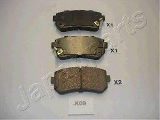 Комплект тормозных колодок, дисковый тормоз JAPANPARTS PP-K09AF