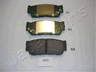 Комплект тормозных колодок, дисковый тормоз JAPANPARTS PP-S02AF