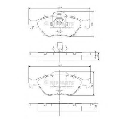 Комплект тормозных колодок, дисковый тормоз NIPPARTS J3603065