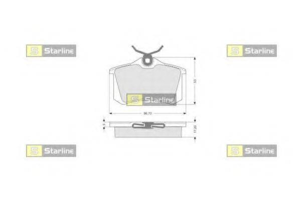 Комплект тормозных колодок, дисковый тормоз STARLINE BD S002S