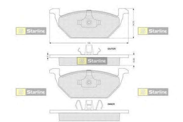 Комплект тормозных колодок, дисковый тормоз STARLINE BD S004S