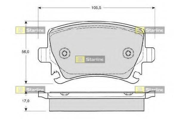 Комплект тормозных колодок, дисковый тормоз STARLINE BD S011S