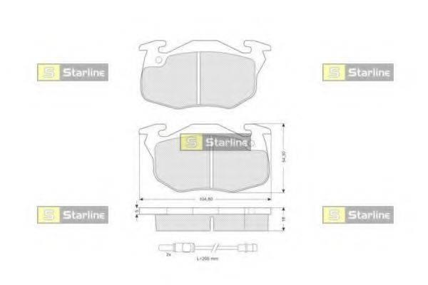 Комплект тормозных колодок, дисковый тормоз STARLINE BD S020