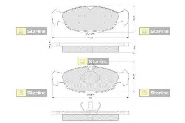 Комплект тормозных колодок, дисковый тормоз STARLINE BD S024