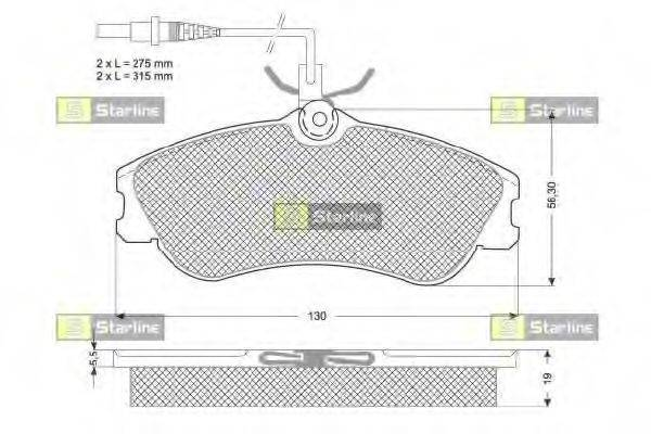 Комплект тормозных колодок, дисковый тормоз STARLINE BD S035