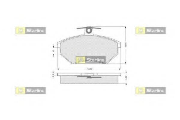 Комплект тормозных колодок, дисковый тормоз STARLINE BD S052
