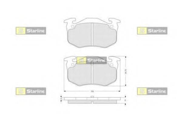 Комплект тормозных колодок, дисковый тормоз STARLINE BD S055