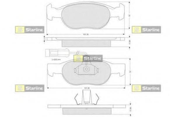 Комплект тормозных колодок, дисковый тормоз STARLINE BD S058