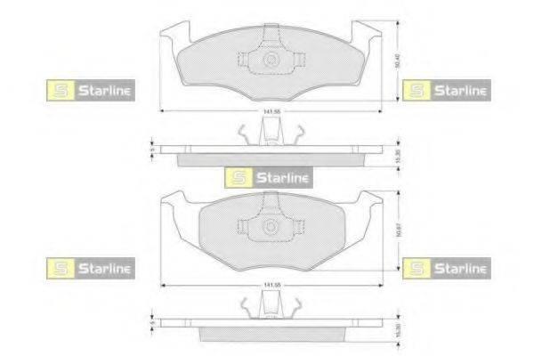 Комплект тормозных колодок, дисковый тормоз STARLINE BD S072