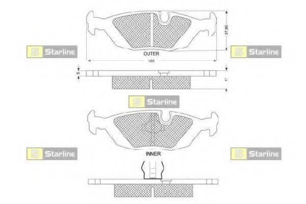 Комплект тормозных колодок, дисковый тормоз STARLINE BD S079