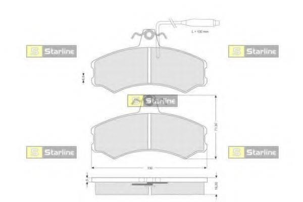 Комплект тормозных колодок, дисковый тормоз STARLINE BD S108