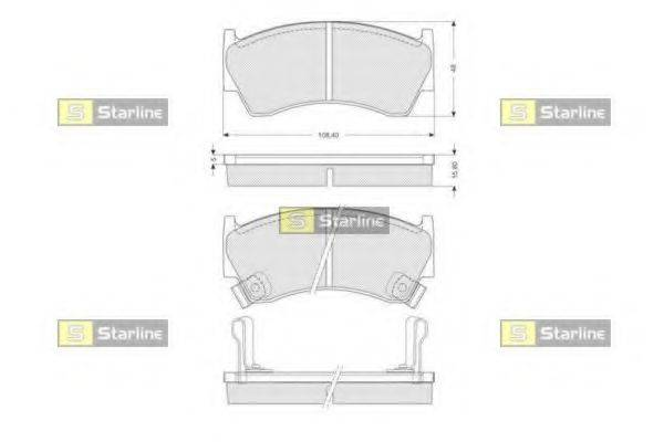 Комплект тормозных колодок, дисковый тормоз STARLINE BD S139