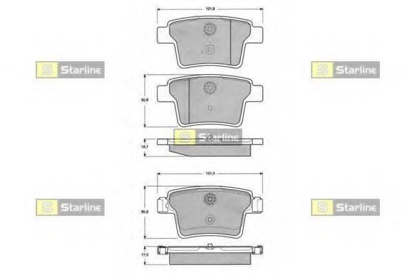 Комплект тормозных колодок, дисковый тормоз STARLINE BD S142