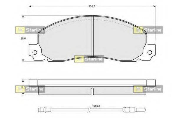 Комплект тормозных колодок, дисковый тормоз STARLINE BD S146