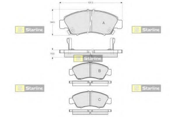 Комплект тормозных колодок, дисковый тормоз STARLINE BD S151