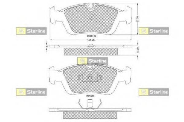 Комплект тормозных колодок, дисковый тормоз STARLINE BD S153
