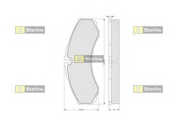 Комплект тормозных колодок, дисковый тормоз STARLINE BD S180