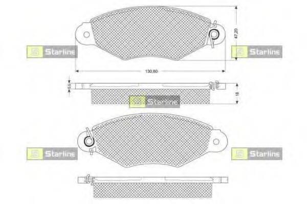 Комплект тормозных колодок, дисковый тормоз STARLINE BD S181