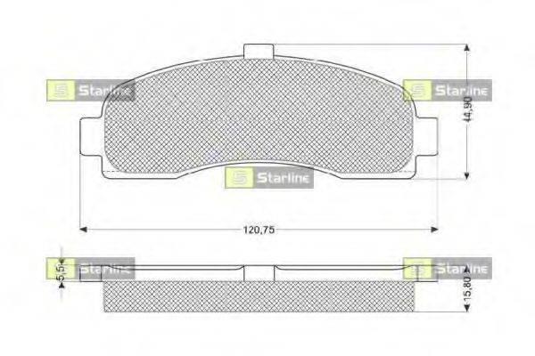 Комплект тормозных колодок, дисковый тормоз STARLINE BD S189