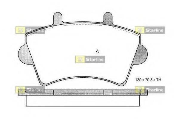 Комплект тормозных колодок, дисковый тормоз STARLINE BD S201
