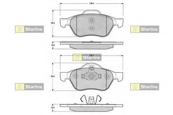 Комплект тормозных колодок, дисковый тормоз STARLINE BD S204