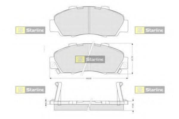 Комплект тормозных колодок, дисковый тормоз STARLINE BD S214