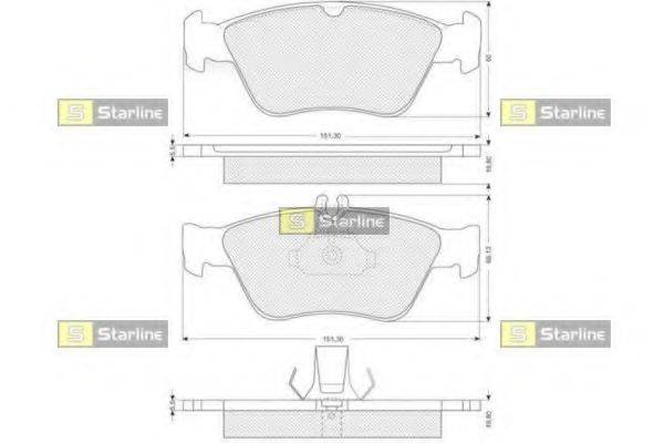 Комплект тормозных колодок, дисковый тормоз STARLINE BD S227