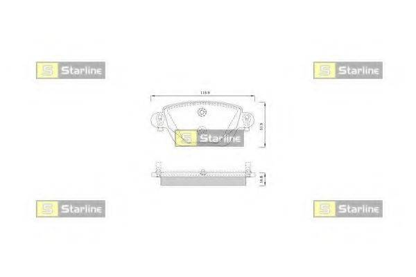 Комплект тормозных колодок, дисковый тормоз STARLINE BD S252