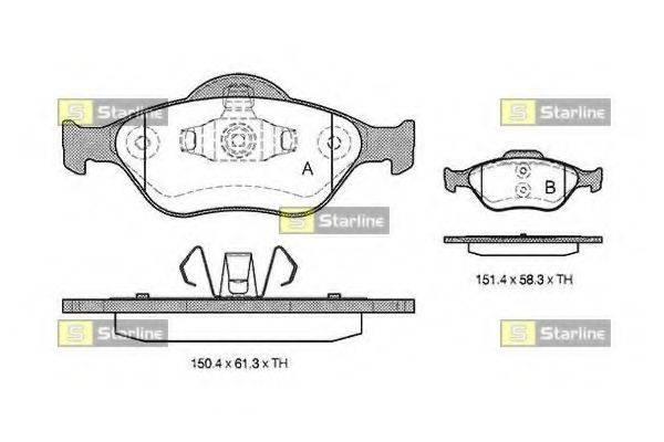 Комплект тормозных колодок, дисковый тормоз STARLINE BD S306