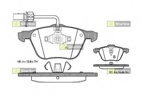 Комплект тормозных колодок, дисковый тормоз STARLINE BD S312