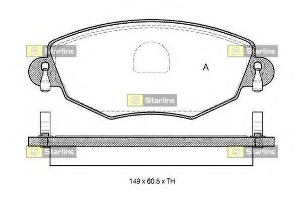 Комплект тормозных колодок, дисковый тормоз STARLINE BD S313