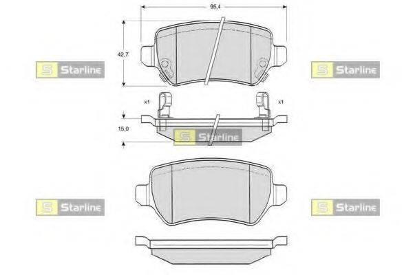 Комплект тормозных колодок, дисковый тормоз STARLINE BD S320