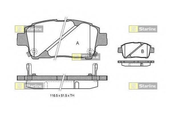 Комплект тормозных колодок, дисковый тормоз STARLINE BD S321