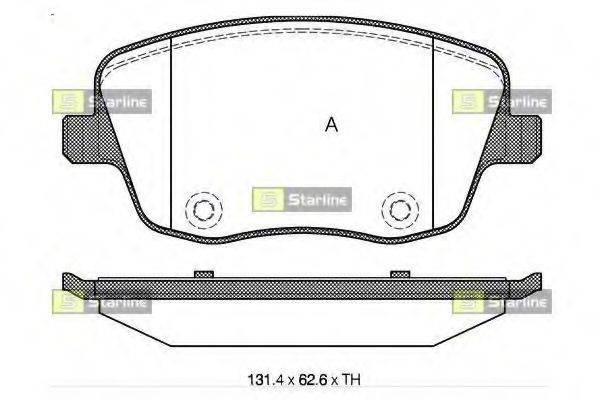 Комплект тормозных колодок, дисковый тормоз STARLINE BD S322