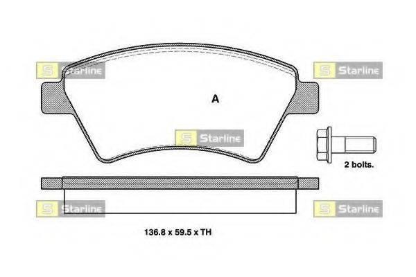 Комплект тормозных колодок, дисковый тормоз STARLINE BD S329
