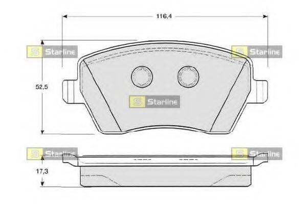 Комплект тормозных колодок, дисковый тормоз STARLINE BD S331