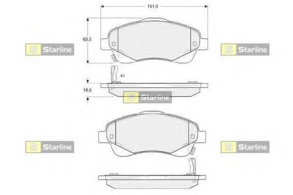 Комплект тормозных колодок, дисковый тормоз STARLINE BD S342