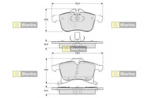 Комплект тормозных колодок, дисковый тормоз STARLINE BD S344