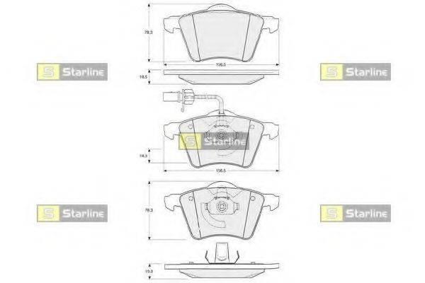 Комплект тормозных колодок, дисковый тормоз STARLINE BD S354