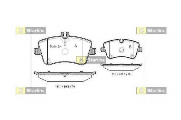 Комплект тормозных колодок, дисковый тормоз STARLINE BD S364