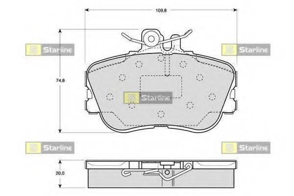 Комплект тормозных колодок, дисковый тормоз STARLINE BD S818P