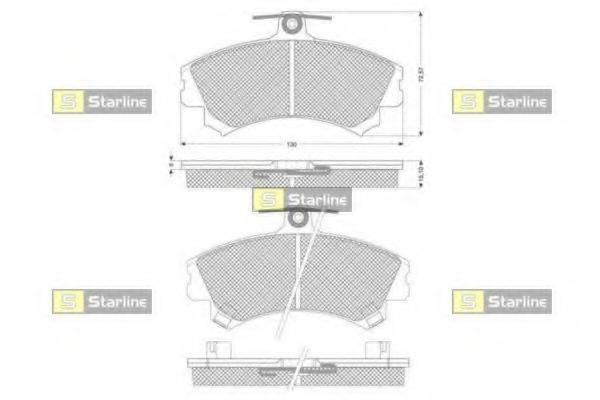 Комплект тормозных колодок, дисковый тормоз STARLINE BD S821P