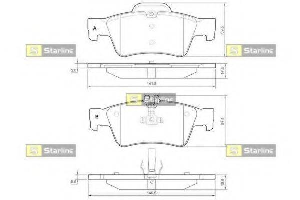 Комплект тормозных колодок, дисковый тормоз STARLINE BD S827P