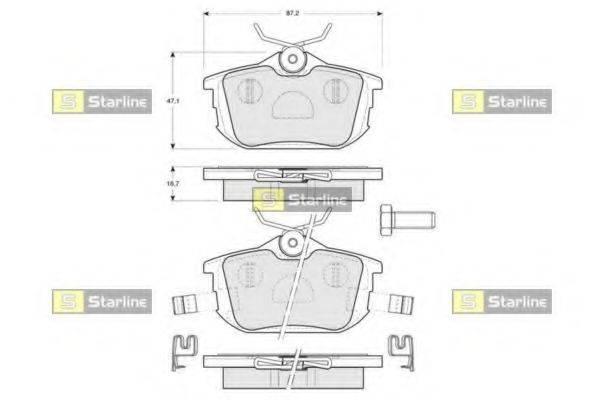 Комплект тормозных колодок, дисковый тормоз STARLINE BD S830P