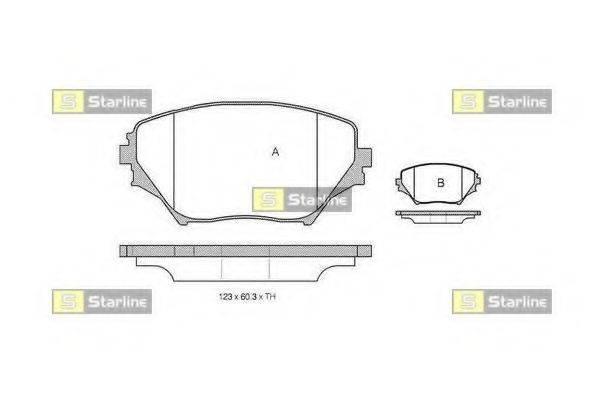 Комплект тормозных колодок, дисковый тормоз STARLINE BD S832P
