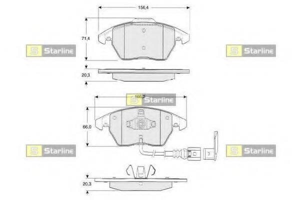 Комплект тормозных колодок, дисковый тормоз STARLINE BD S833P